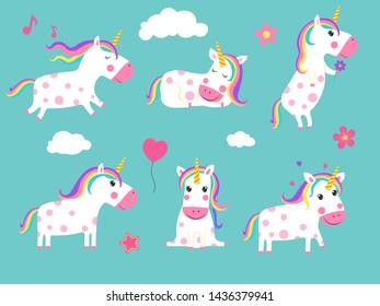 Cartoon unicorns. Cute fairy tale animals in dynamic poses. animal unicorn, horse fantasy mythology illustration