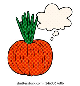 cartoon vegetable with thought bubble in comic book style