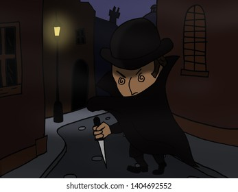 Cartoon version of Jack the Ripper prowling the dark streets of London.