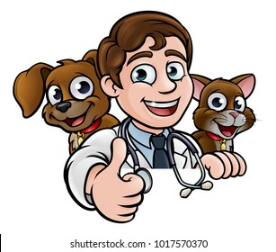 A cartoon vet character with pet cat and dog animals above sign giving a thumbs up