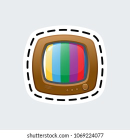 Cartoon vintage tv in patch style. Isolated illustration. Clip Art for sticker or pin.