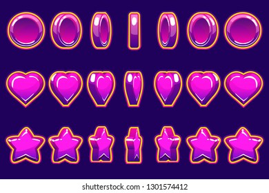 Cartoon violet heart, coin and star turn-based animation,GUI to build games. Casual Game. Can be used in mobile or web game. Isolated,