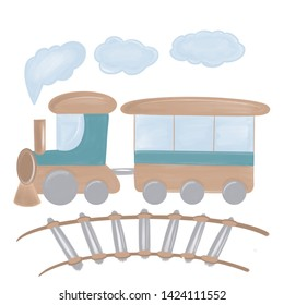 Cartoon waggon locomotive, tracks and steam  watercolor illustration. Perfect for baby room decor, post card, baby book, baby shower, poster, t-shirt design.