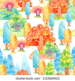 Cartoon watercolor illustration. Cute fairy tale nature. Forest with colorful spruce, autumn trees. Seamless pattern for wallpaper, paper.