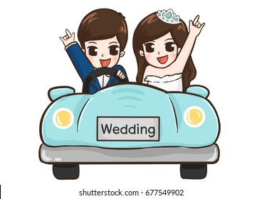 Cartoon Wedding couple , character, digital painting, clip art.