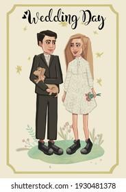 Cartoon wedding invitation card template illustration. High quality illustration