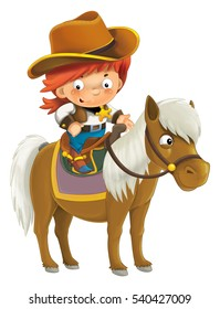 Cartoon western cowboy on horse - isolated - illustration for children