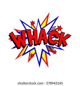 Cartoon whack colorful text caption illustration