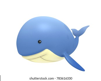 Cartoon whale 3d rendering.