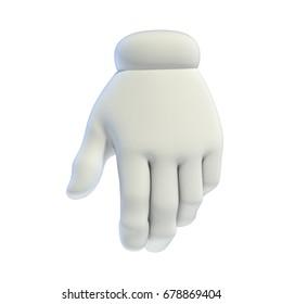 Cartoon white hand 3d rendering