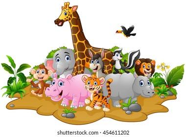 Similar Images, Stock Photos & Vectors of Cartoon wild animals ...