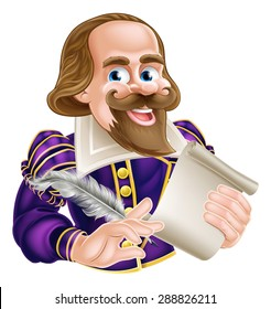 Cartoon of William Shakespeare holding a feather quill and scroll
