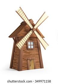 Cartoon windmill isolated on white background. 3d illustration