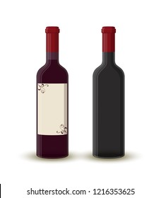 Cartoon wine bottles - full and empty. Transparent glass with label. Alcohol drink with shadow isolated on white background. Design of beverage.