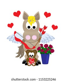 "Cartoon winged cupid horse celebrating St. Valentine's day holding bow and arrows, standing next to a vase of roses and a stuffed teddy bear that says ""Be Mine""."