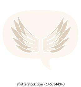 cartoon wings symbol with speech bubble in retro style
