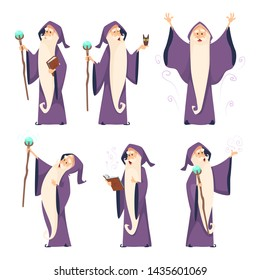 Cartoon wizard character in various poses. Magician sorcerer with wand, witchcraft and spell, illustration