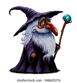 Cartoon wizard illustration. Magic old man with magic stick  fairy tale character