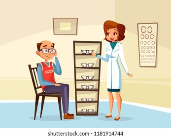 cartoon woman doctor ophthalmologist helps adult man patient with diopters glasses selection. Female optometristh caracter in medical uniform vision consultation. Eye healthcare concept
