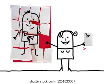 Cartoon Woman with Last Missing Piece for her Man Puzzle