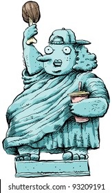 A cartoon woman posing as an obese Statue of Liberty.