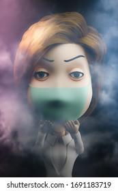 Cartoon woman wearing mask 3d render.