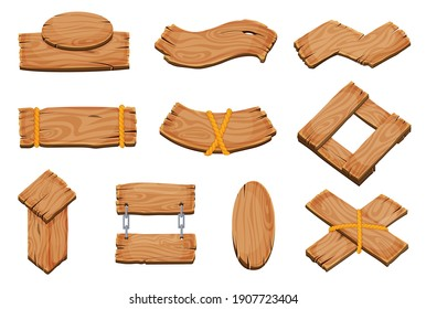 Cartoon wood blank signboards, banners and ribbons, western signs set. Wooden banner and vintage frame plank illustration.