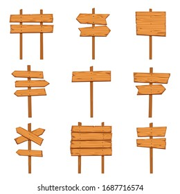 Cartoon wooden arrows. Blank wood signboards and arrow signs. Isolated road direction signpost empty post brown rustic billboard set