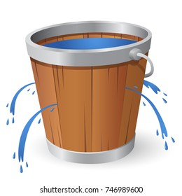 A cartoon wooden bucket with many leaks springing from the bucket.