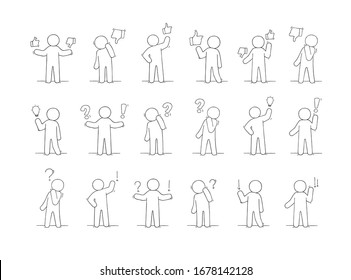 Cartoon working little people with thinking signs. Doodle cute miniature scene about communication. Hand drawn  illustration for business and social design.