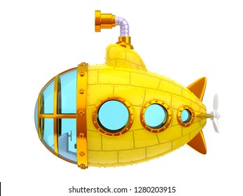 cartoon yellow submarine, side view, isolated on white. 3d illustration