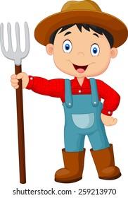 Cartoon young farmer holding rake