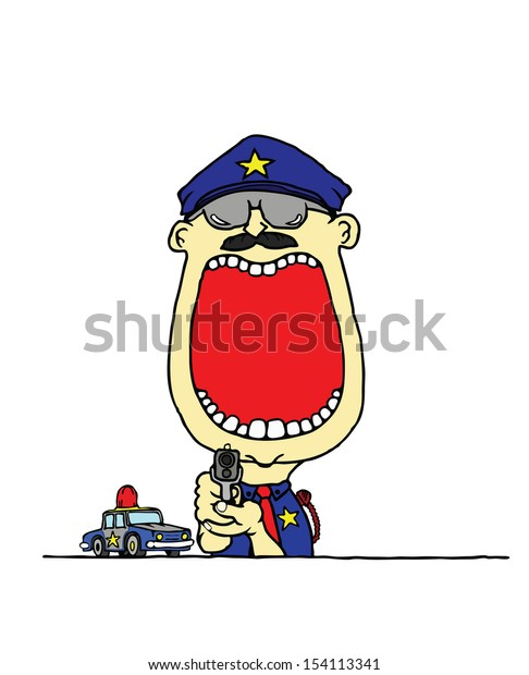 A cartoon of a young policeman holding a gun with a wide open mouth with blank space for text.