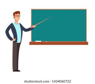 Cartoon young profesor, teacher man at blackboard teaching children in school classroom illustration. Education in class school, professor at chalkboard