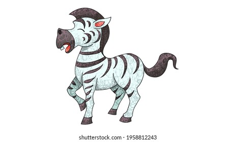 Cartoon Zebra Drawing. cute animal oil pastel drawing crayon doodle for children book illustration, poster, or wall painting.