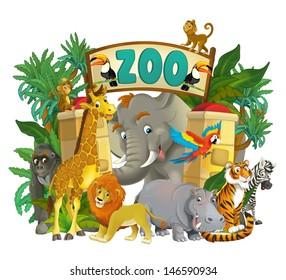 Cartoon zoo - amusement park - illustration for the children, XXL file