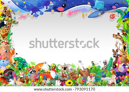 Cartoon Zoo Animals Frame Template Cute Stock Illustration