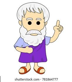 A cartoonic illustration of Aristotle.
