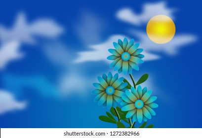 Cartoonish illustration. Daisies and Sun in cloudy sky. 3D rendering