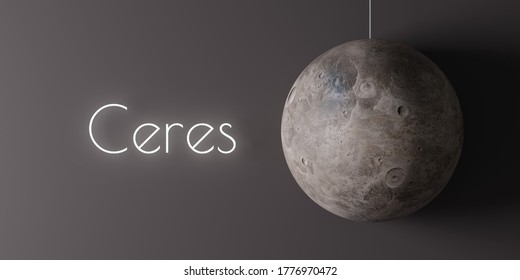 """A cartoonish model of dwarf planet Ceres with text """"Ceres"""" next to it. A 3d render."""
