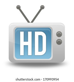 Cartoon-style TV Icon with HD TV wording