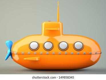 Cartoon-styled orange submarine on grey background. 3d illustration