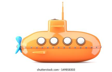 Cartoon-styled submarine isolated on white background. 3d illustration