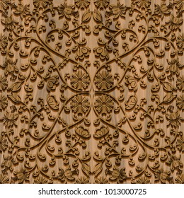 Carved geometric and floral pattern on wood and marble background seamless texture, marquetry panel, 3d illustration