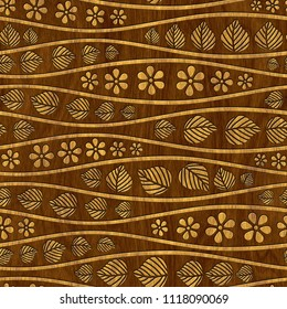 Carved geometric pattern on wood background texture, marquetry panel, 3d illustration