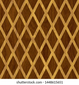 Carved geometric pattern on wood background seamless texture, marquetry panel, 3d illustration