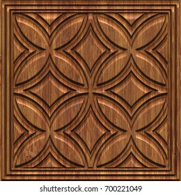 Carved geometric pattern on wood background texture, panel, 3d illustration