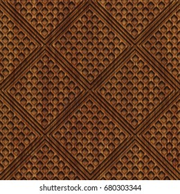 Carved pattern on wood background seamless texture, 3d illustration