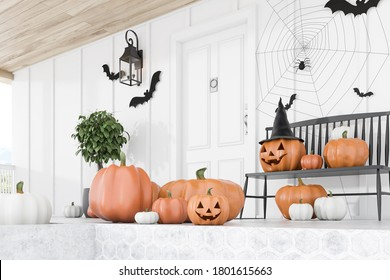 Carved pumpkins, bats and spiders on floor and bench near modern house with white front door, tree in pot and white walls. Side view. Concept of halloween. 3d rendering