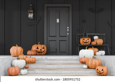 Carved pumpkins, bats and spiders on stairs and bench near modern house with black front door and black walls. Concept of halloween. 3d rendering